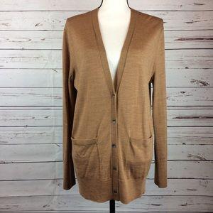NWOT Camel Merino Wool Cardigan Sweater, Size L